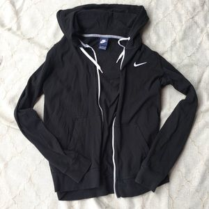 NIKE Full Zip Black Hoodie Logo Athletic Women XL
